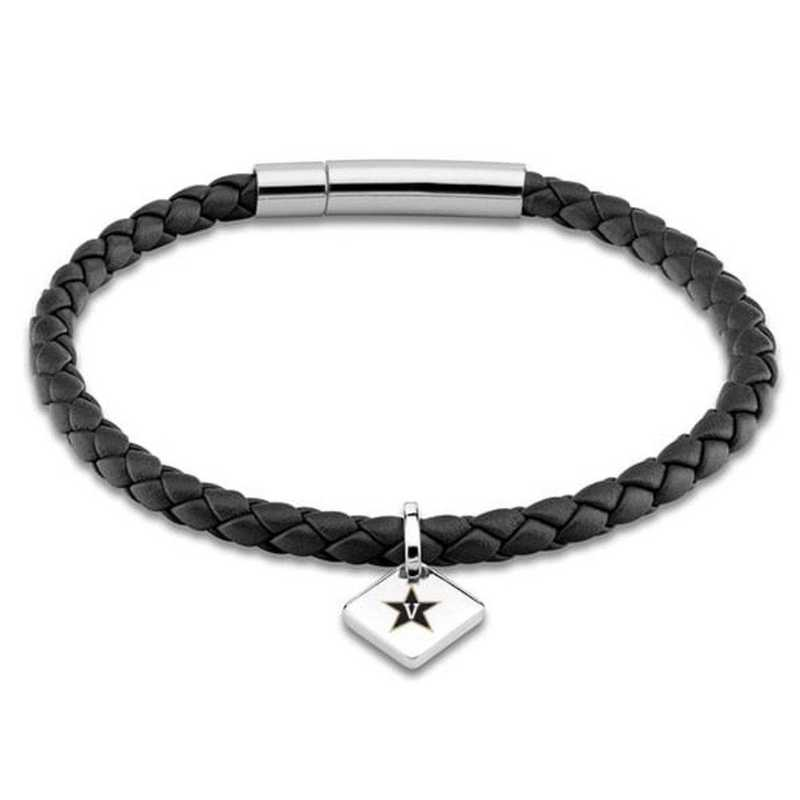 615789479888: Vanderbilt University Leather Bracelet w/SS Tag - Black