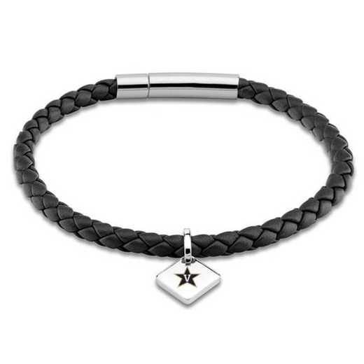 615789479888: Vanderbilt University Leather Bracelet w/SS Tag - Black
