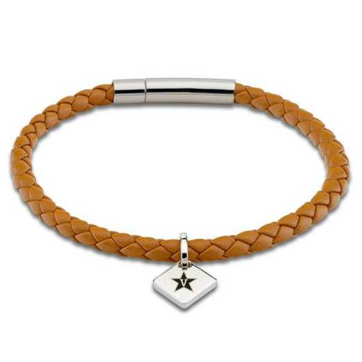 615789748557: Vanderbilt University Leather Bracelet w/SS Tag - Saddle