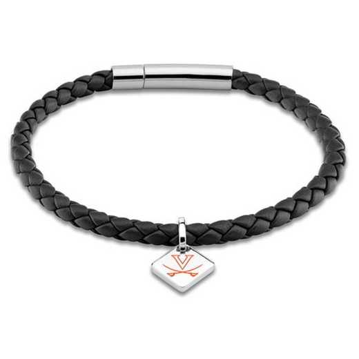 615789744917: Virginia Leather Bracelet w/SS Tag - Black