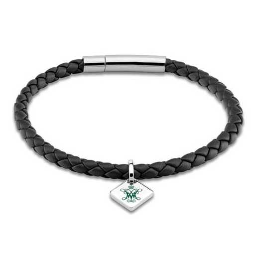 615789595632: College of William & Mary Leather Bracelet w/SS Tag - Black
