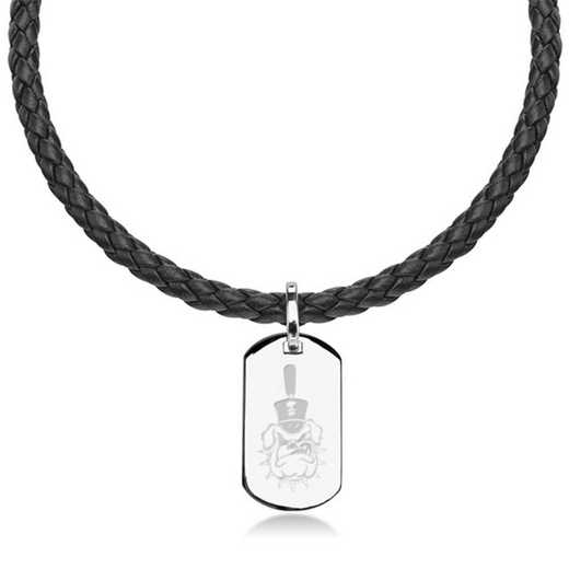 615789346272: Citadel Leather Necklace with Sterling Dog Tag