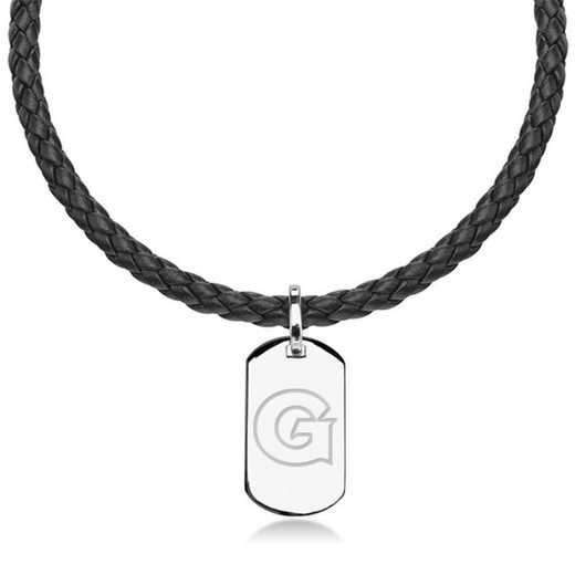 615789717164: Georgetown University Leather Necklace with Sterling Dog Tag