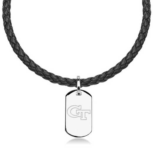 615789251262: Georgia Tech Leather Necklace with Sterling Dog Tag