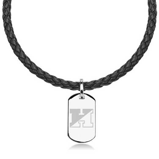 615789676195: Johns Hopkins University Leather Necklace w/Sterling Dog Tag