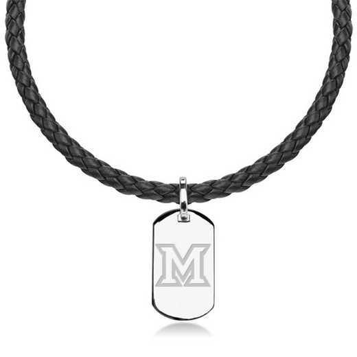 615789313083: Miami University in Ohio Leather Necklace with Sterling Dog Tag