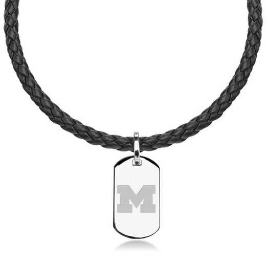 615789869818: University of Michigan Leather Necklace w/Sterling Dog Tag