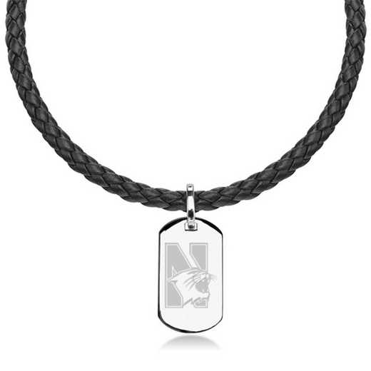 615789082736: Northwestern UNIV Leather Necklace W/ Sterling Dog Tag