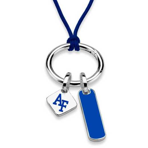 615789989004: US Air Force Academy Silk Necklace W/ Enamel Charm & SS Tag