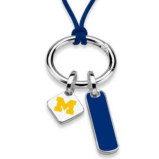 615789748892: UNIV of Michigan Silk Necklace W/ Enamel Charm & SS Tag