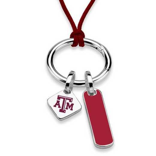 615789295440: Texas A&M UNIV Silk Necklace W/ Enamel Charm & SS Tag