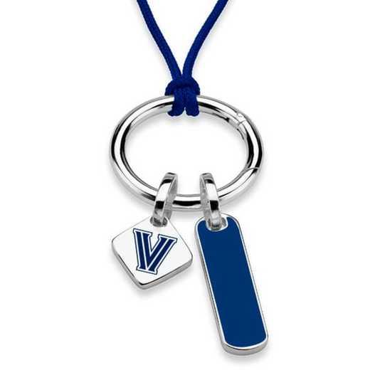 615789031659: Villanova UNIV Silk Necklace W/ Enamel Charm & SS Tag