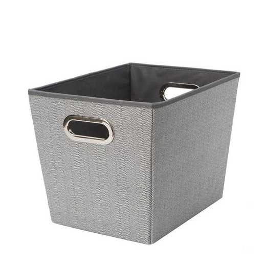 26614-GREY: KEN  LRG Herringbone Grommet Shelf Tote in Grey
