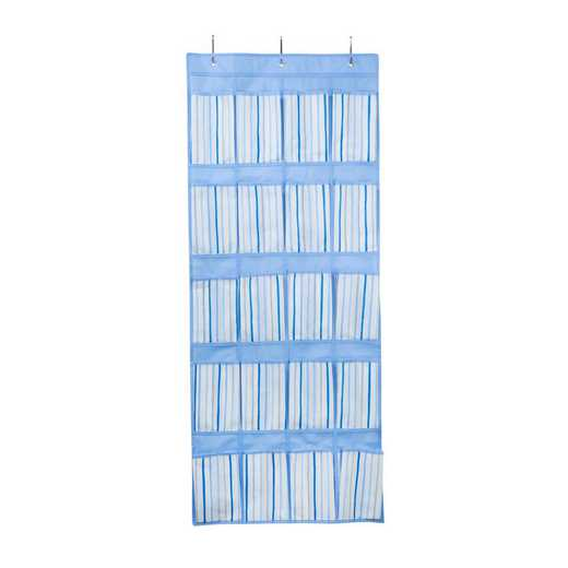 LA-95746: KEN Kids Over The Door 16 Pocket Shoe Organizer in Painterly Blue Stripe