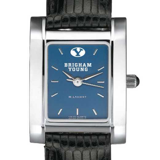 615789817581: BYU Women's Steel Quad Blue Dial with Leather