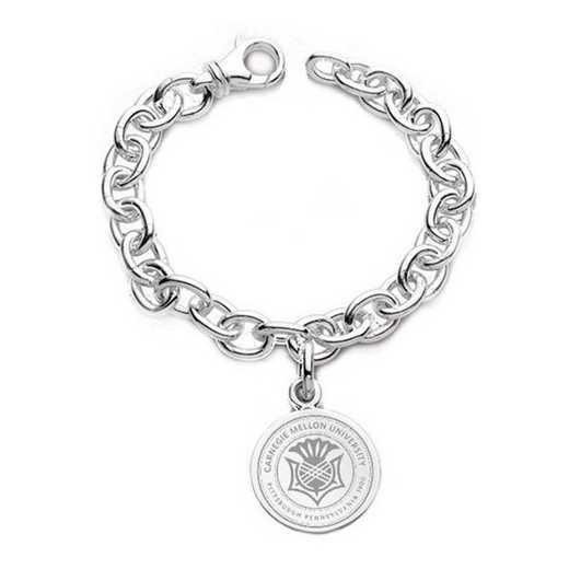 615789391494: Carnegie Mellon University Sterling Silver Charm Bracelet