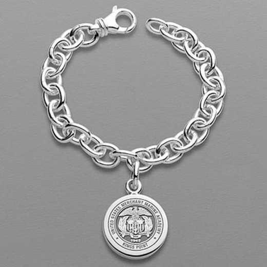 615789814856: Merchant Marine Academy Sterling Silver Charm Bracelet