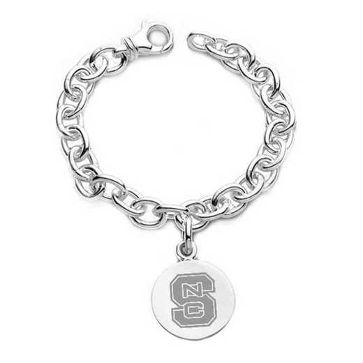 615789305729: NC State Sterling Silver Charm Bracelet