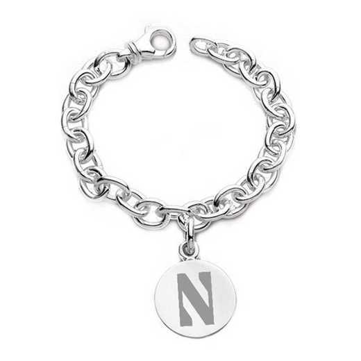 615789531531: Northwestern Sterling Silver Charm Bracelet