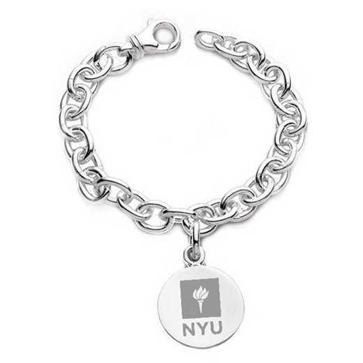 615789512721: NYU Sterling Silver Charm Bracelet