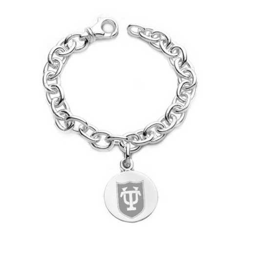 615789173915: Tulane Sterling Silver Charm Bracelet