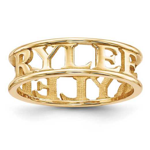 XNR61GP: Gold Plated/SS High Polish Name Ring