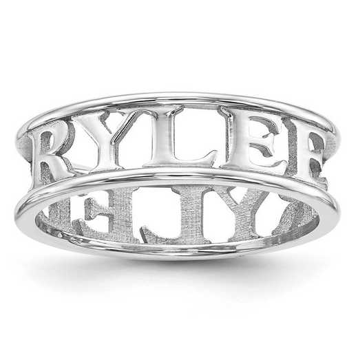 XNR61SS: Sterling Silver Rhodium-plated High Polish Name Ring