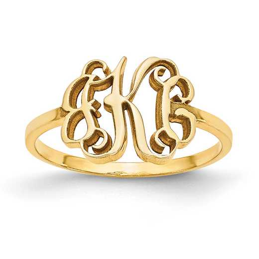 XNR71GP: Gold Plated/SS Laser Polished Monogram Ring