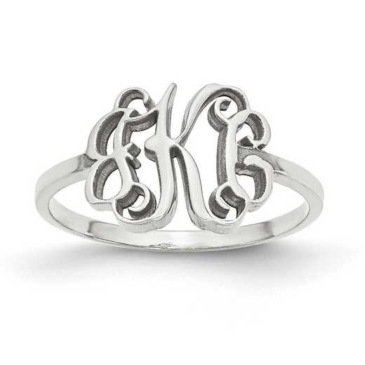 XNR71SS: Sterling Silver Rhodium-plated Laser Polished Monogram Ring
