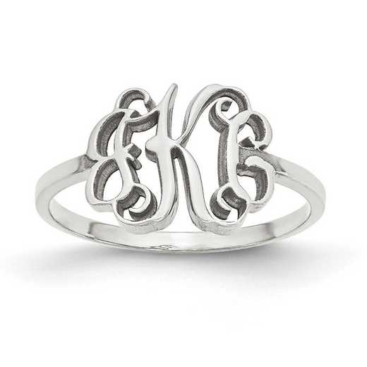 10XNR71W: 10k White Gold Laser Polished Monogram Ring