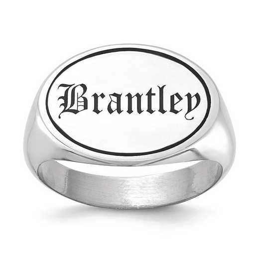 XNR88W: 14kw Left/Right Oval Signet Ring with Engravable Top