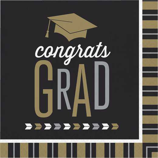 DTC327474NAP: CC Silver and Gold Glitz Graduation Napkins - 48 Count