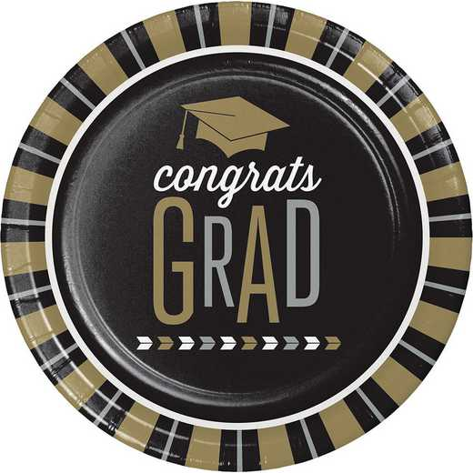 DTC327380DPLT: CC Silver and Gold Glitz Graduation Paper Plates - 24 Count