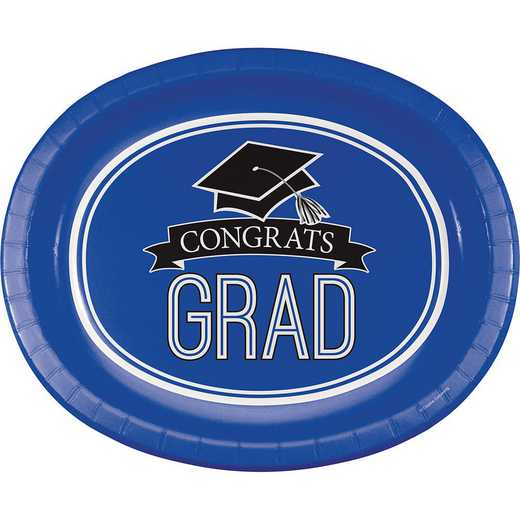 DTC320053OVAL: CC Graduation School Spirit Blue Oval Plates - 24 Count