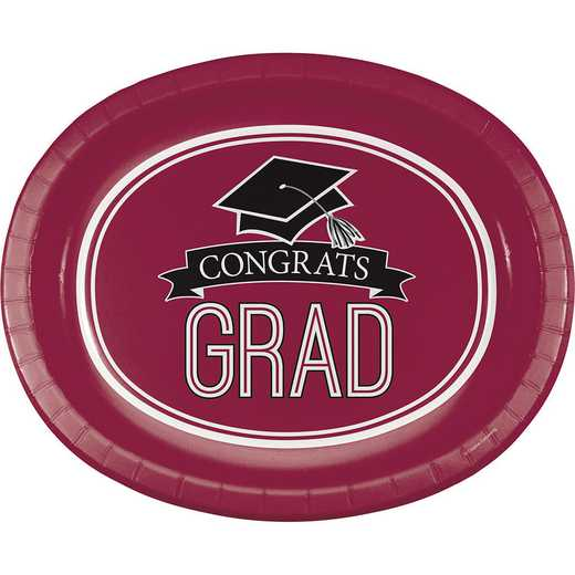 DTC320045OVAL: CC Graduation Spirit Burgundy Red Oval Plates - 24 Count