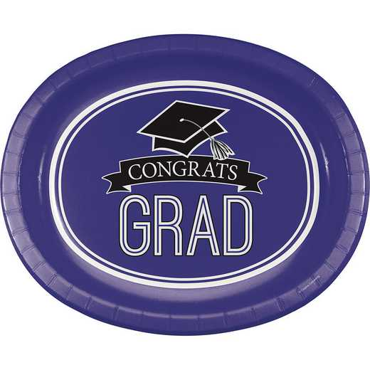 DTC320077OVAL: CC Graduation School Spirit Purple Oval Plates - 24 Count