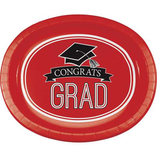 DTC320085OVAL: CC Graduation School Spirit Red Oval Plates - 24 Count