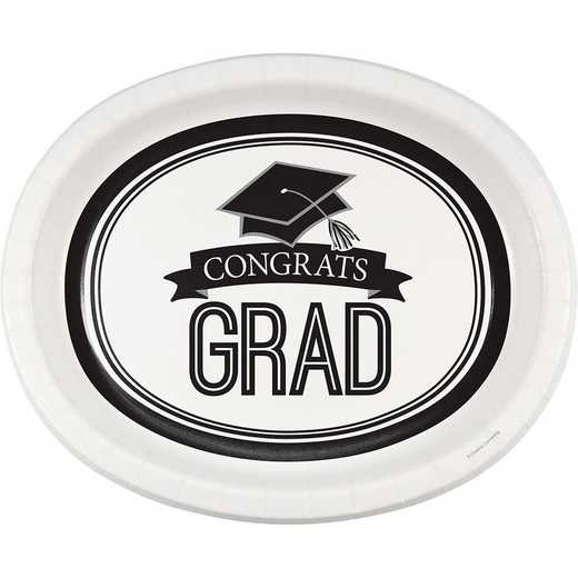 DTC320093OVAL: CC Graduation School Spirit White Oval Plates - 24 Count