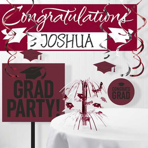 DTCBNGDY1A: CC Burgundy Red School Graduation Decorations Kit