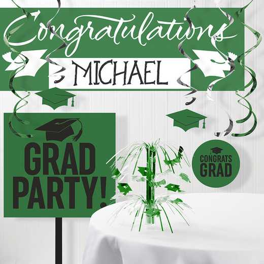 DTCGREEN1A: CC Graduation School Spirit Green Decorations Kit
