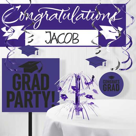 DTCPURPL1A: CC Graduation School Spirit Purple Decorations Kit