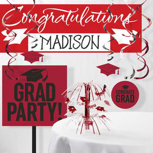 DTCCLRED1B: CC Graduation School Spirit Red Decorations Kit