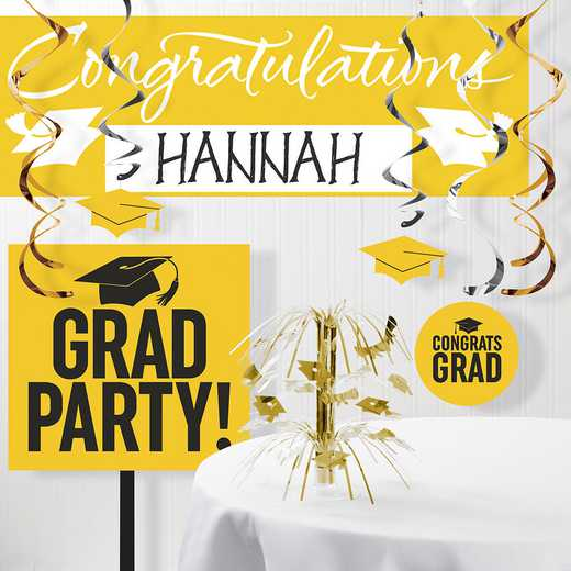 DTCSBYLW1A: CC Graduation School Spirit Yellow Decorations Kit