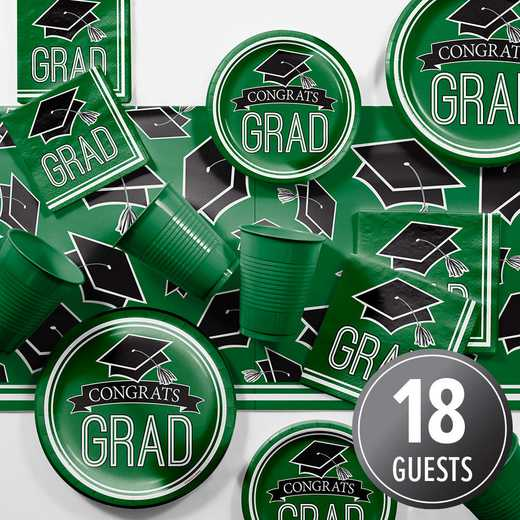 DTCGREEN2A: CC Graduation School Spirit Green Party Supplies Kit 8ct