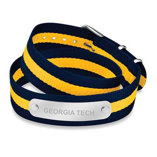 615789661962: Georgia Tech (Size-Medium) Double Wrap NATO ID Bracelet