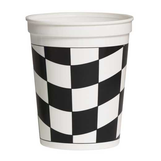 DTC110546316TUM: CC Black and White Check Stadium Cups - 8  Count