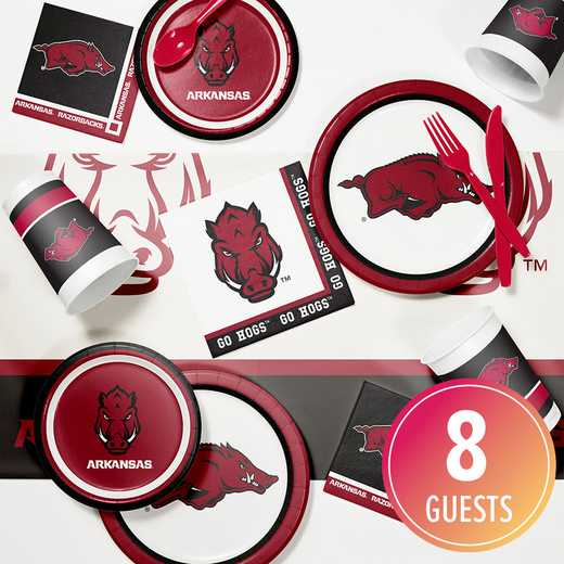 DTC4855C2A: CC University of Arkansas Game Day Party Supplies Kit 8ct