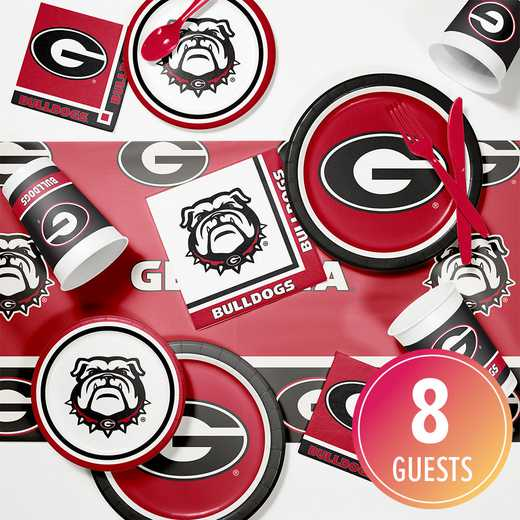 DTC4699C2D: CC University of Georgia Game Day Party Supplies Kit 8ct