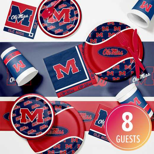 DTC4893C2A: CC University of Mississippi Game Day Party Supplies Kit 8ct