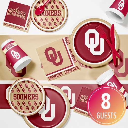 DTC4844C2A: CC University of Oklahoma Game Day Party Supplies Kit 8ct